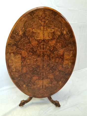 Large Walnut Oval Dining Table - Mid Victorian Burr Walnut And Inlaid Oval Loo Table Seat 6 People