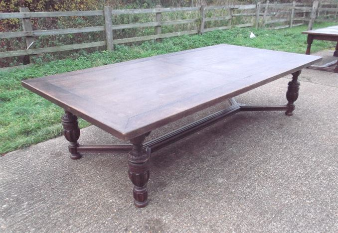 Large Wide Antique Oak Refectory Table - 10ft 3 Metre Jacobean Revival Oak Refectory Table To Seat Up To 14 People