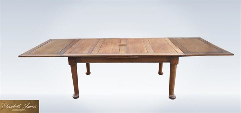 Large Antique 10ft Arts Crafts Oak Draw Leaf Refectory Table 4ft Width To Seat Up To 14 People