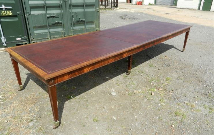 Large Antique Boardroom Table - 14ft Georgian Adams Styled Mahogany And Leather Top Extending Boardroom Table
