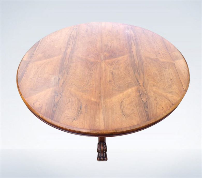 Large Antique Late Regency Period Rosewood Centre Breakfast Dining Table