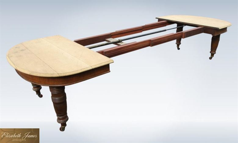 Large Antique Oak Dining Table From Late 19th Century