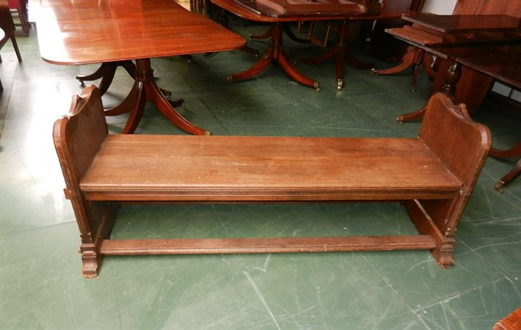 Large Antique Oak Hall Bench - Arts & Crafts Influenced Oak Bench