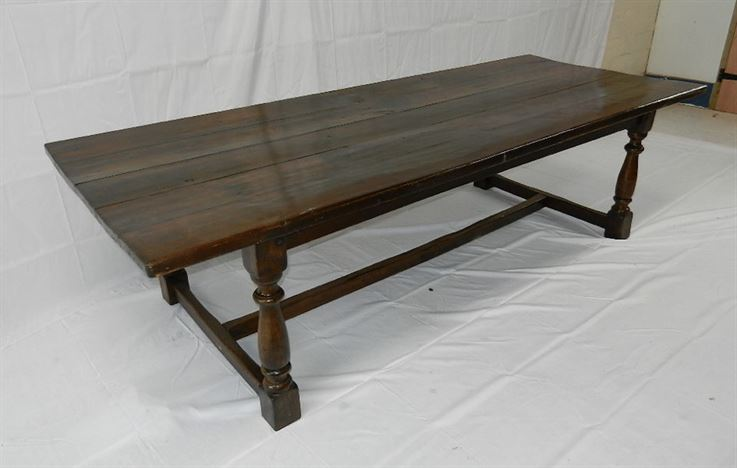 Large Antique Oak Refectory - 10ft 3 Metre Jacobean Style Oak Refectory Table Of Good Width