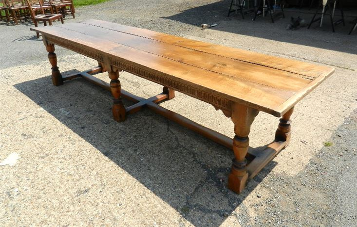 Large Antique Oak Refectory Table - 12ft 4 Metre Jacobean Revival Oak Refectory Table To Seat 14 People