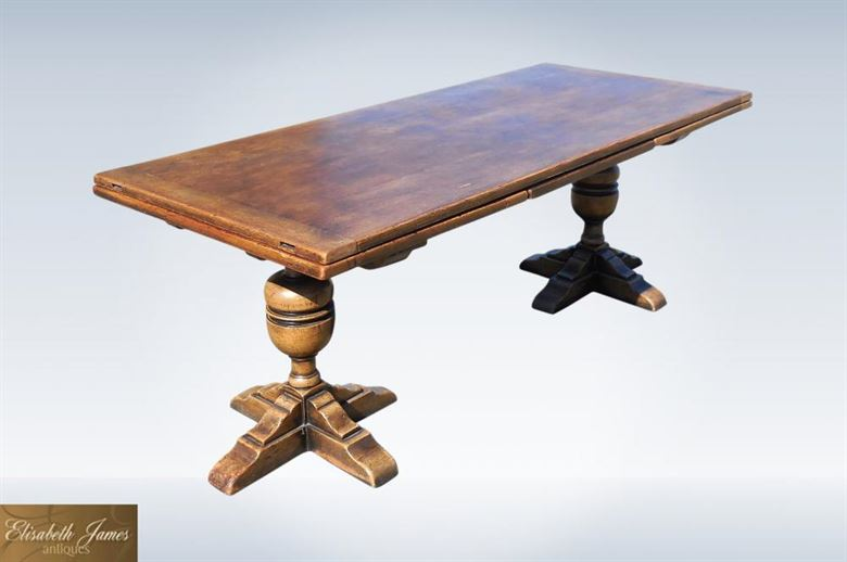 Large Antique Oak Refectory Table 3 Metres Long With Drawleaf Ends