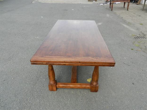 Large Antique Oak Refectory Table - 9ft Jacobean Revival Oak Drawleaf Refectory Table