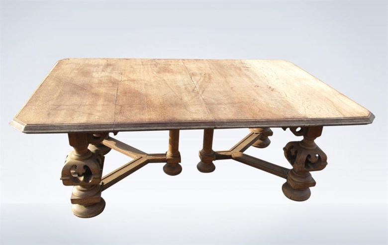 Large Antique Oak Dining Table Arts Crafts Victorian