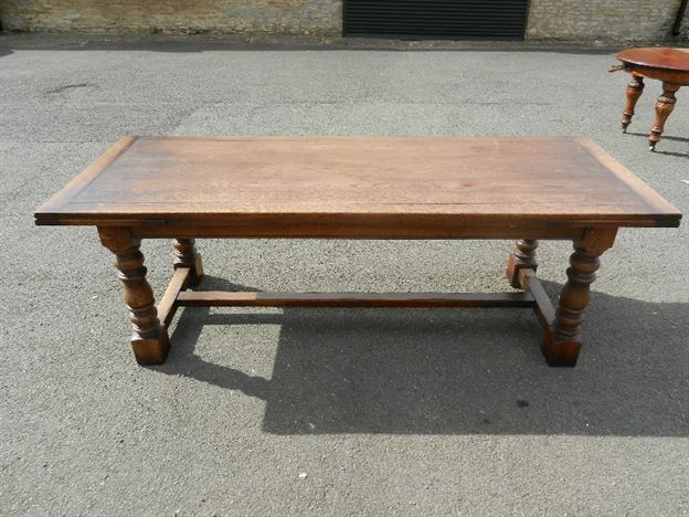 Large Antique Oak Refectory Table - 10ft 3 Metre Jacobean Revival Oak Drawleaf Refectory Table