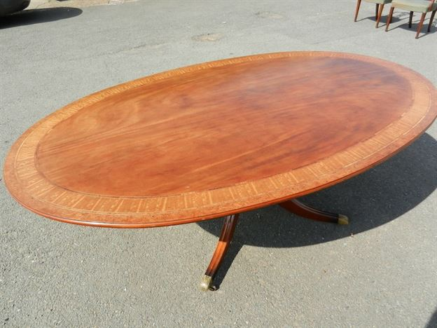 Large Antique Oval Table - 7ft Long Oval Formed Regency Revival Mahogany Table To Seat 10 To 12 People