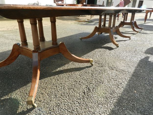 Large Antique Regency Pedestal Dining Table - 17ft Vintage Regency Mahogany Triple Pedestal Dining Table