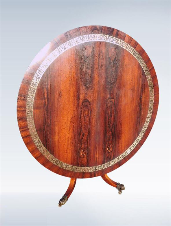 Large Antique Round Dining Table From Regency Period In Rosewood And Brass Inlaid