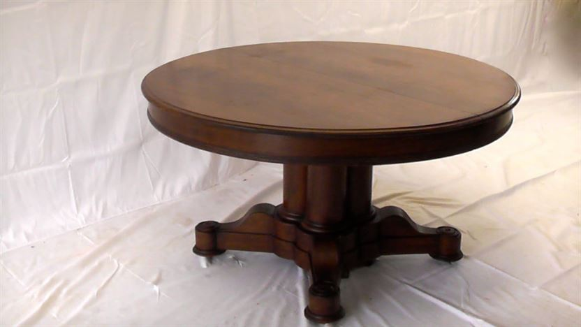 Antique Round Oak Table With Leaves Designs