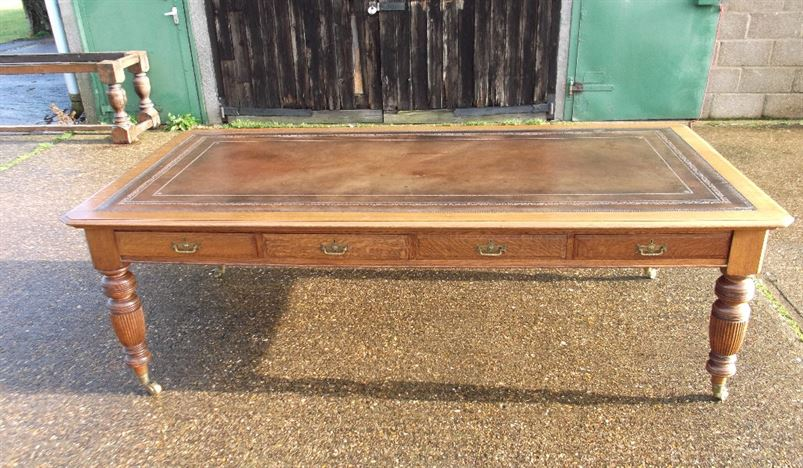 Large Antique Victorian Oak Desk - 8ft Late 19th Century Oak Library  Partners Writing Desk or Boardroom Table - ANTIQUE FURNITURE WAREHOUSE - Large Antique Victorian Oak Desk - 8ft