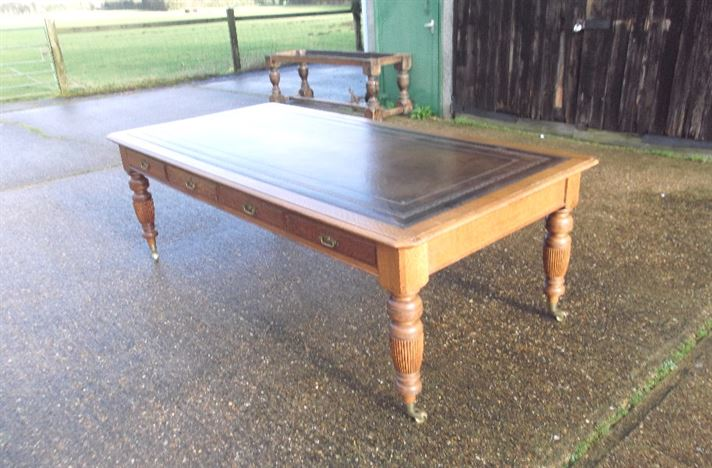 Large Antique Victorian Oak Desk - 8ft Late 19th Century Oak Library Partners Writing Desk Or Boardroom Table