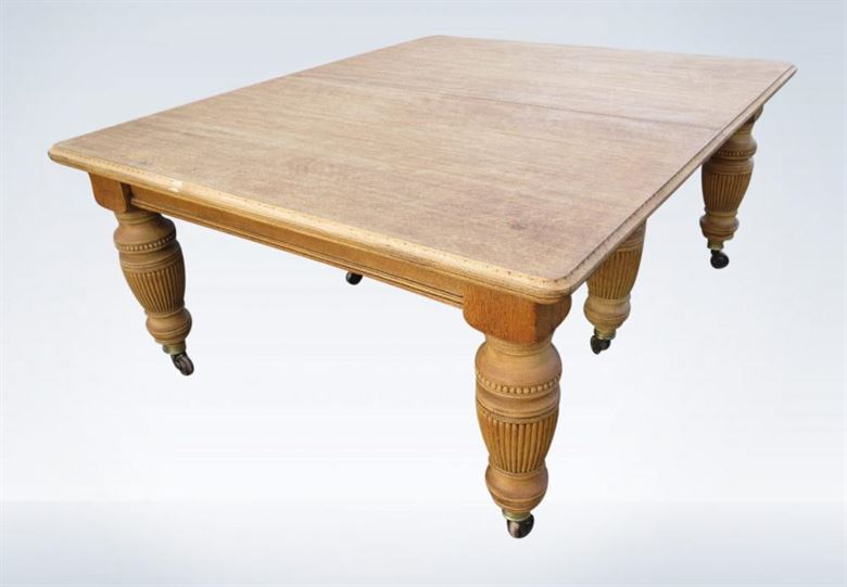 Large Antique Victorian Oak Dining Table To Seat 20 People