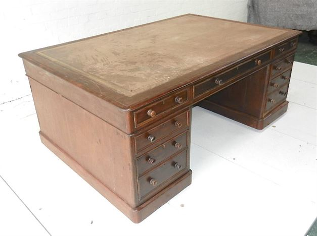 Large Antique Victorian Partners Desk - Late 19th Century 6ft X 4ft Mahogany Partners Desk