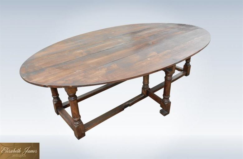 Large Oval 17th Century Design Oak Dining Table - Charles II Revival Oval Oak Drop Leaf Dining Table To Seat 12 People Comfortably