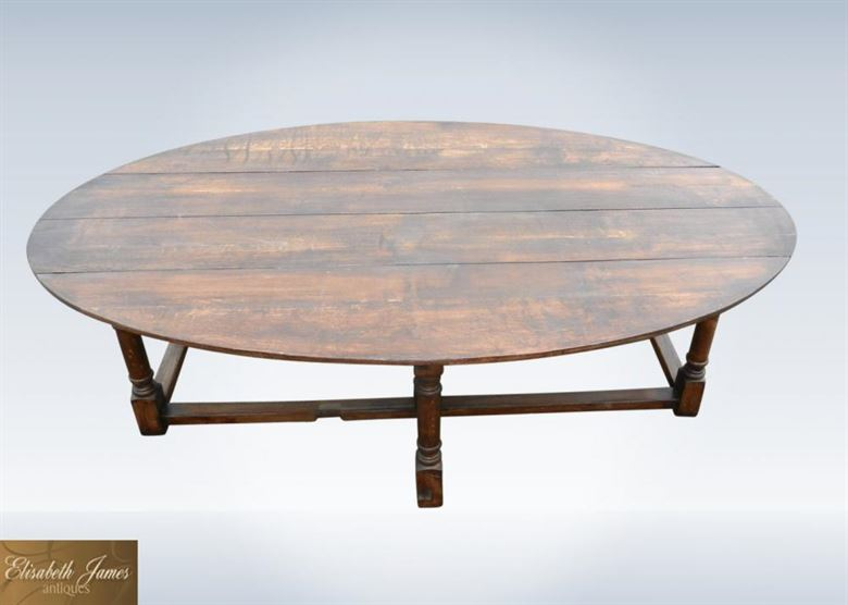 Large oval oak antique table to seat 12 people for 12 people dining table