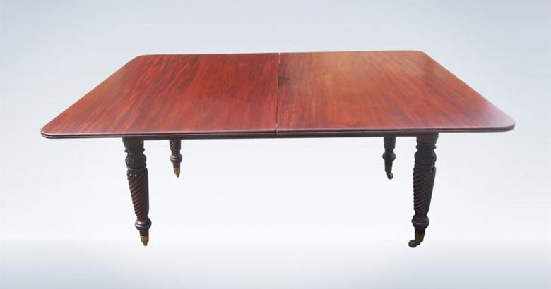 Late Regency Irish Mahogany Campaign Dining Table