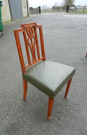 Long Set Of Fourteen Georgian Sheraton Revival Antique Dining Chairs
