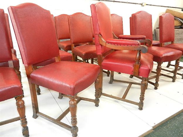 Antique furniture warehouse long set antique oak dining for Long back dining chairs