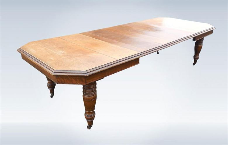Oak Extending Dining Table   Late Victorian Arts U0026 Crafts 3 Metre Antique