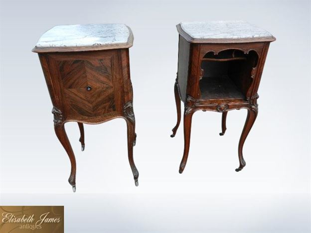 Original 19th Century Victorian Pair Of Bedside Cupboards With Marble Tops