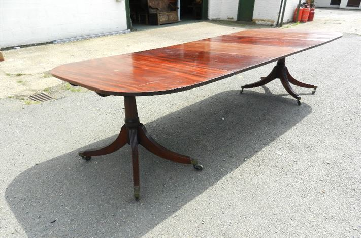 Original Georgian Dining Table - Large 10ft Regency Period Mahogany Twin Pedestal Extending Dining Table