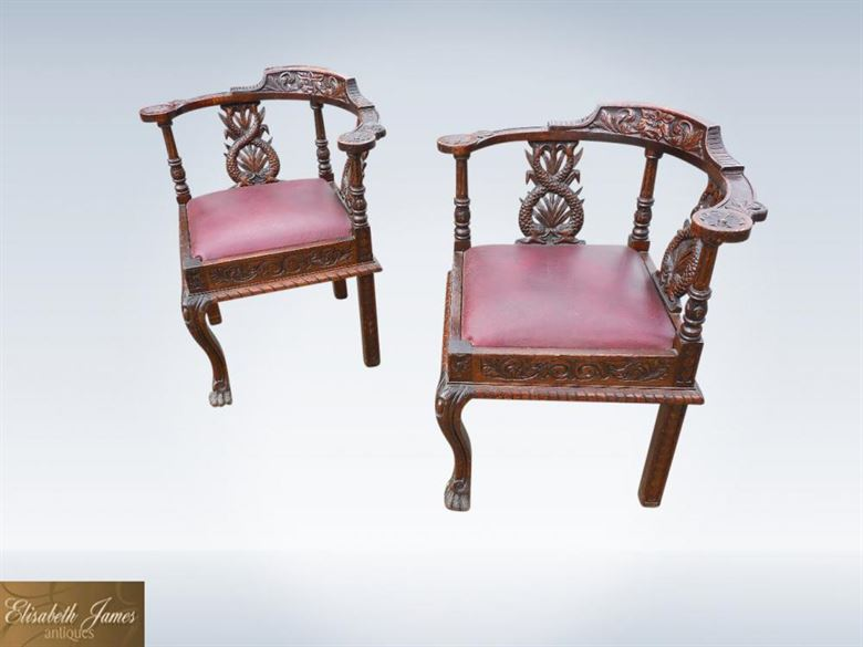 Original Pair 19th Century Victorian Carved Oak Corner Chairs