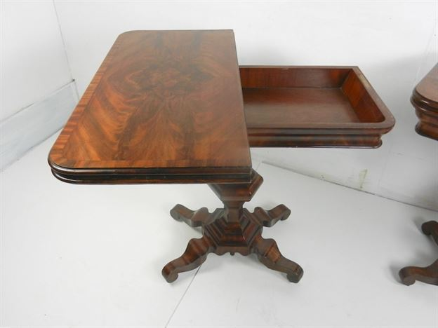 Original Pair Of Late Regency Mahogany Tea Tables Of Small Proportions