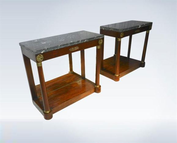 Original Pair Regency Mahogany Hall Consoles In Empire Taste With Marble  Tops