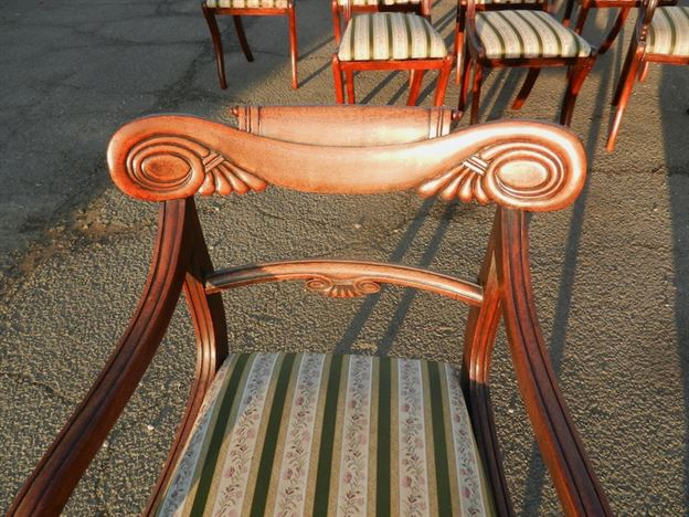 Original Set Eight Regency Mahogany Sabre Leg Chairs With Carvers