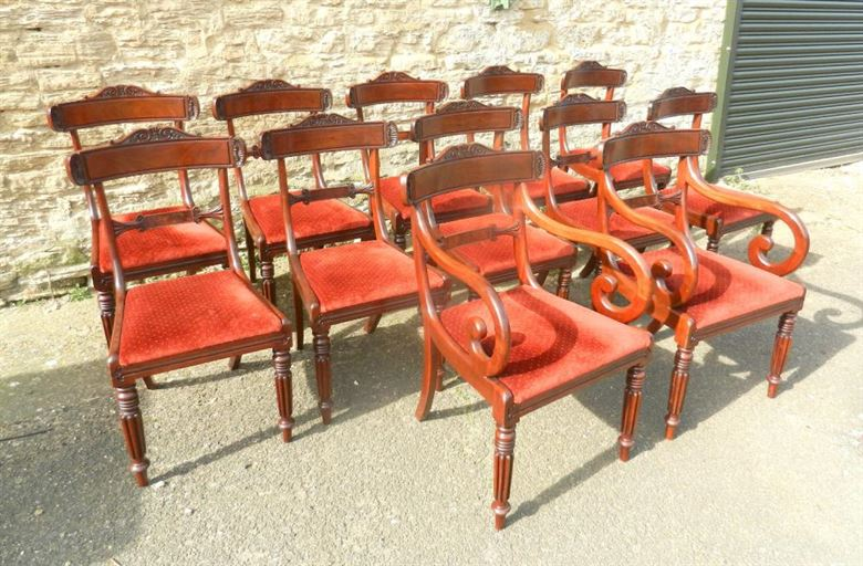Original Set Of 12 Regency Mahogany Bar Back Dining Chairs With Gillows Reeded Leg