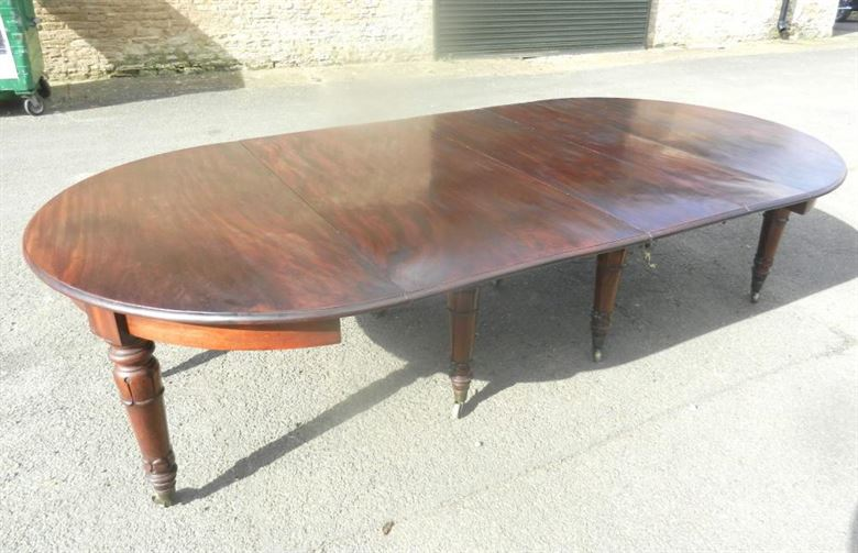 Original Untouched Post Regency Round Console End Extending Mahogany Dining  Table