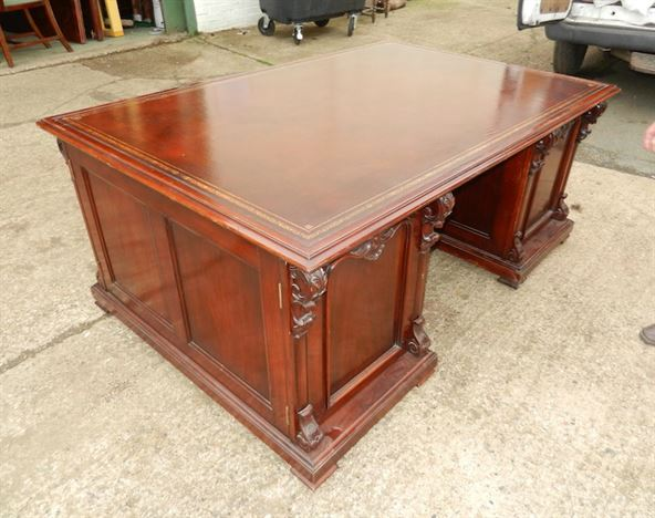 Original Victorian 6ft Partners Desk - Mid Victorian 6ft By 4ft Mahogany Fitted Partners Estate Desk With Leather Inset Top