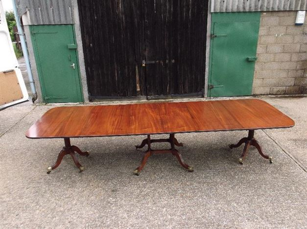 Over 12ft Length Regency Revival Mahogany Antique Pedestal Dining Table To Seat 16 People