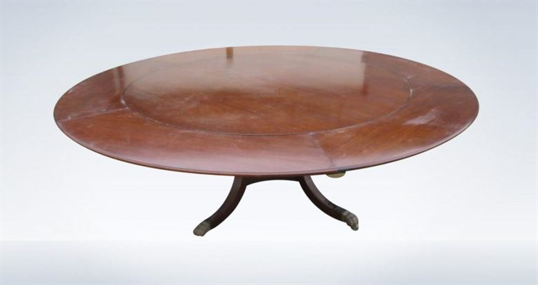 Over 7ft Diameter Antique Regency Revival Round Extending Dining Table To Seat 14 People