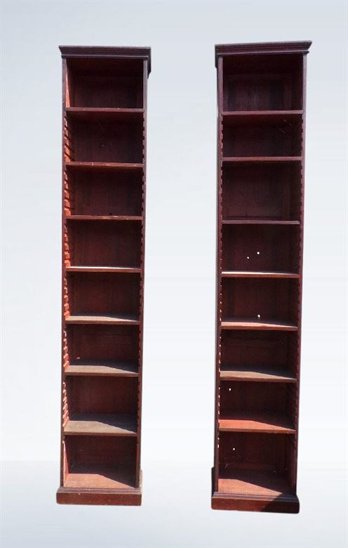 Pair 19th Century Narrow Mahogany Bookcase Shelves