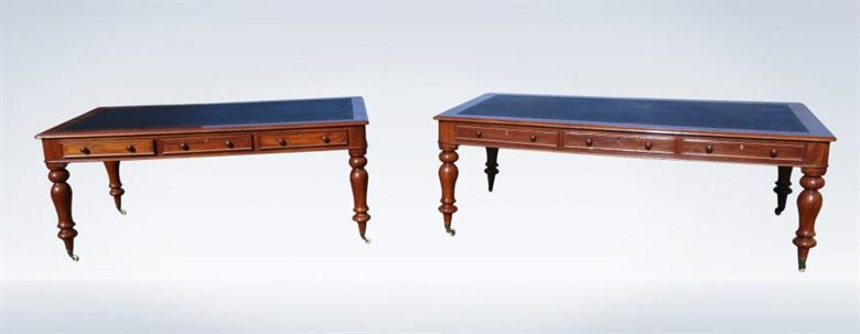 Pair Early Victorian 7ft & 6ft Mahogany Partner Library Table Desks