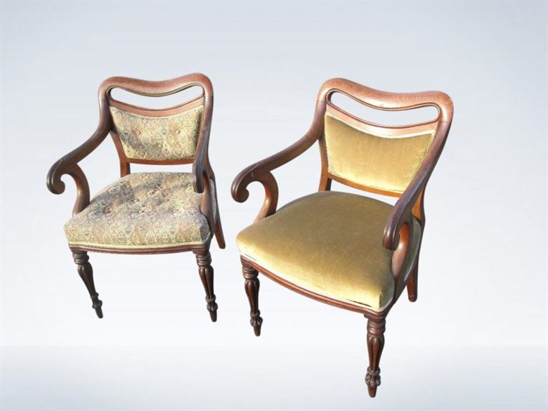 Pair Early Victorian Mahogany Library Chairs