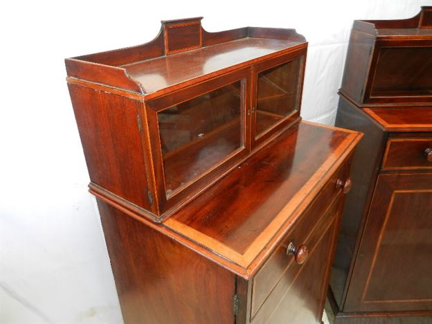 Pair Georgian Cabinets - Late Regency Pair Of Fitted Mahogany Cupboards Of Small Proportions