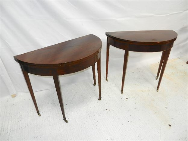 Pair Georgian Card Tables - Late 18th Century Geoargian Sheraton Small Proportioned Demi Card Tables