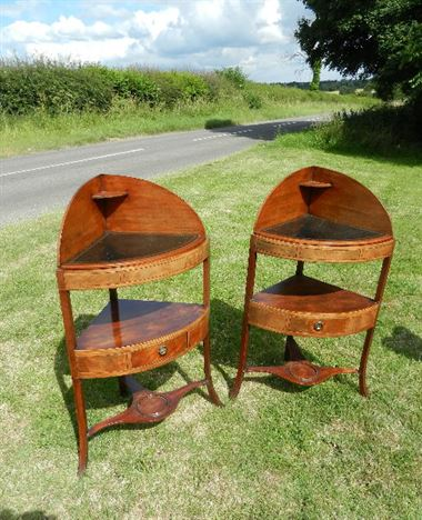 Pair Georgian Corner Tables - Late 18th Century Pair Of Sheraton Period Corner Wash Stand Tables