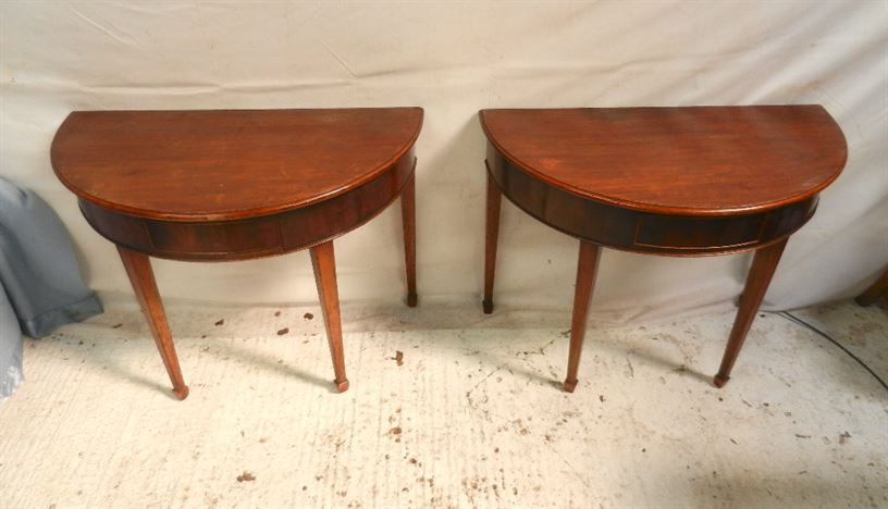 Pair Georgian Demi Consoles - Late 18th Century George III Pair Mahogany Demi Shaped Tables