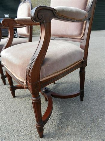 Pair Georgian Library Chairs - Early 19th Century Adams Styled Mahogany Library  Chairs - ANTIQUE FURNITURE WAREHOUSE - Pair Georgian Library Chairs - Early