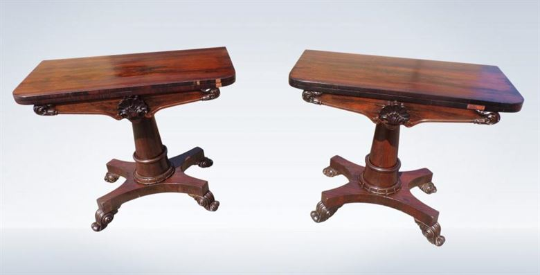 Pair Late Regency Rosewood Tea Side Table Consoles