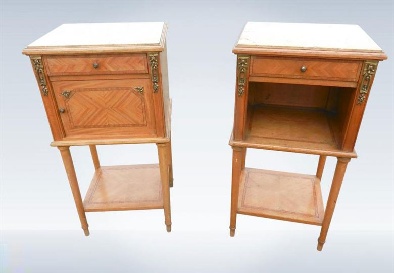 Pair Of Original 19th Century Victorian Satinwood Bedside Cupboards. Antique Bedroom Furniture UK   Antique Beds  Antique Wardrobes