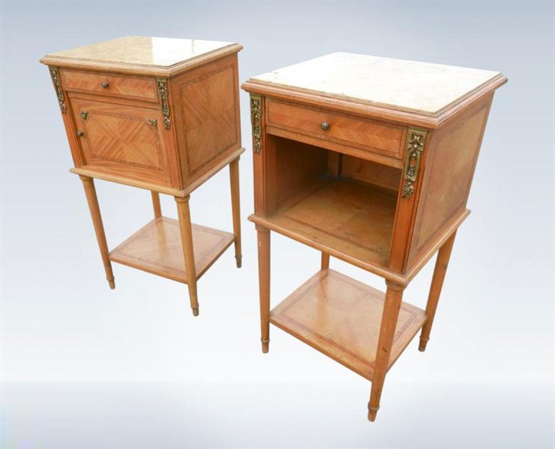 Pair Of Original 19th Century Victorian Satinwood Bedside Cupboards