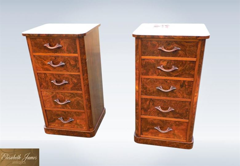 Large Pair Antique Walnut Chest Drawers